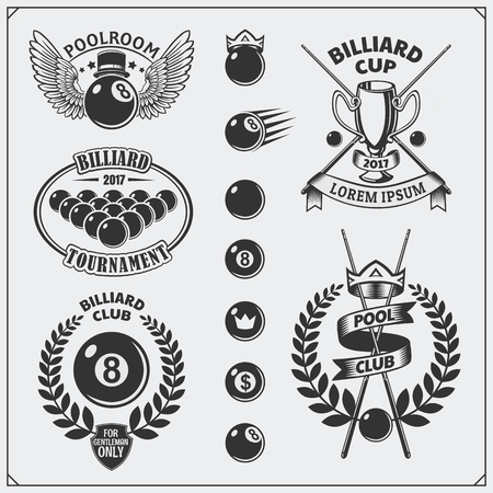 Set of billiards labels, emblems, badges, icons and design elements. Vettoriali