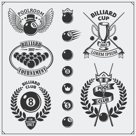 Set of billiards labels, emblems, badges, icons and design elements. Illustration