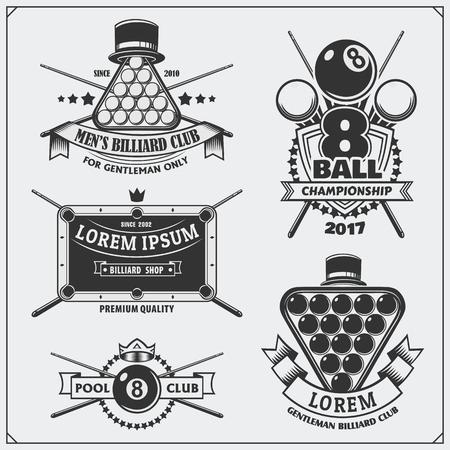 Set of billiards labels, emblems, badges, icons and design elements. Ilustração