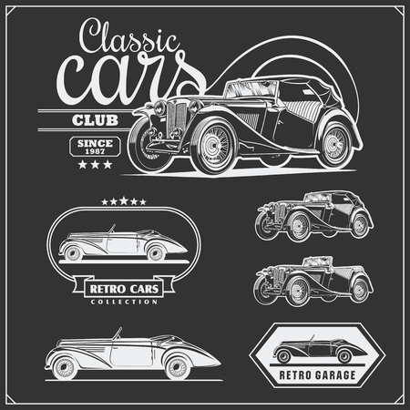 Vintage cars set. Retro cars garage. Classic muscle cars labels, emblems and design elements.