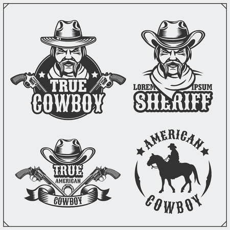 Wild west. Set of rodeo, sheriff and cowboy vintage emblems, icons and design elements. Ilustrace