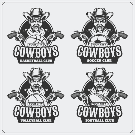 Volleyball, baseball, soccer and football and labels. Sport club emblems with cowboy. Ilustrace
