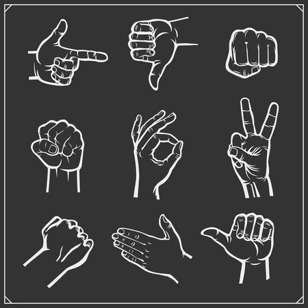 Set of people hands. Different gestures. Vector illustration.