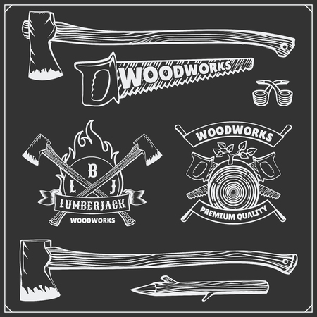 Vector set of vintage Lumberjack logos, labels, emblems and design elements. Axes and saws.