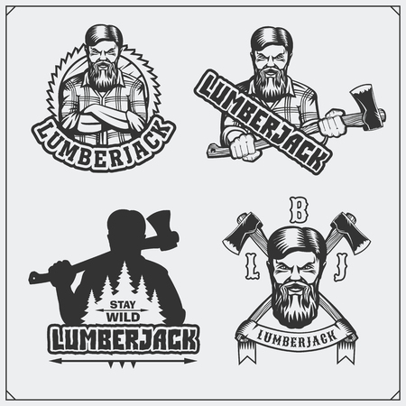 Set of Lumberjack labels, emblems, badges and design elements. Vintage style.