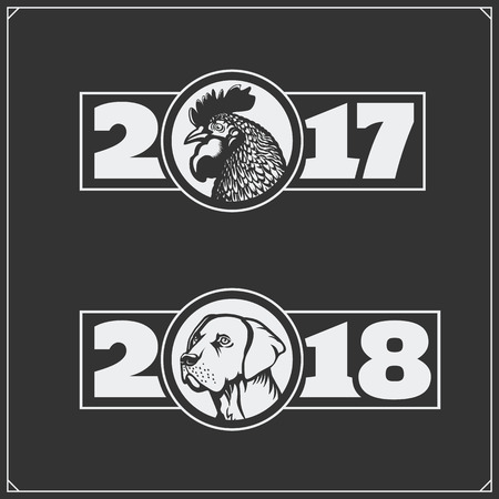 Vector monochrome labels. Happy chinese new year 2017 with rooster and happy chinese new year 2018 with dog.