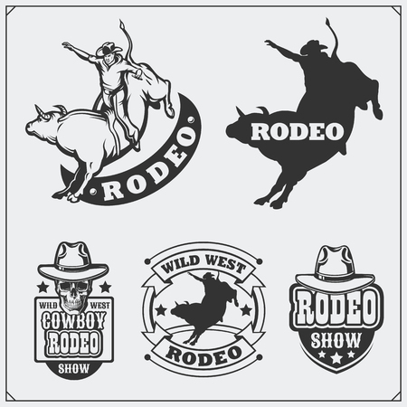 Set of vintage rodeo labels, badges, emblems and designed elements.