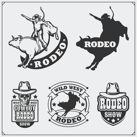 Set of vintage rodeo labels, badges, emblems and designed elements.