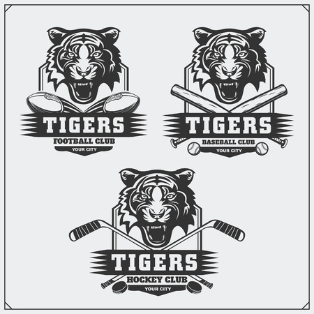 Football, baseball and hockey and labels. Sport club emblems with tiger. Ilustrace