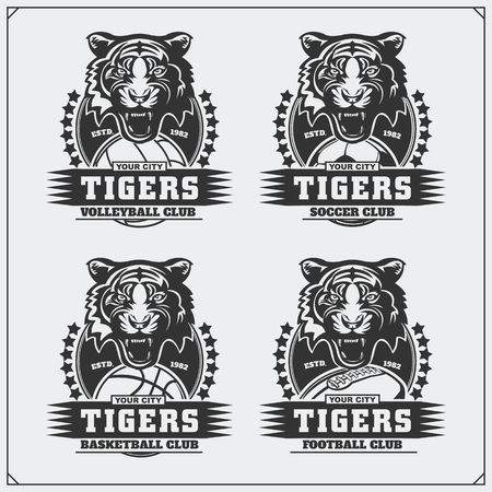 Volleyball, baseball, soccer and football and labels. Sport club emblems with tiger.