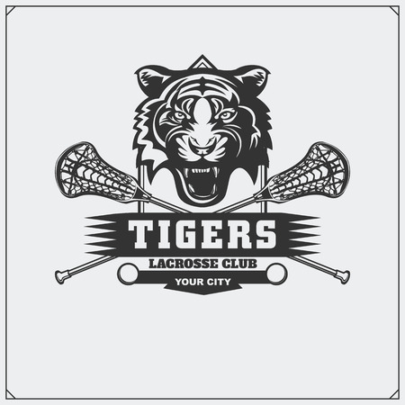 Lacrosse club emblem with tiger head.
