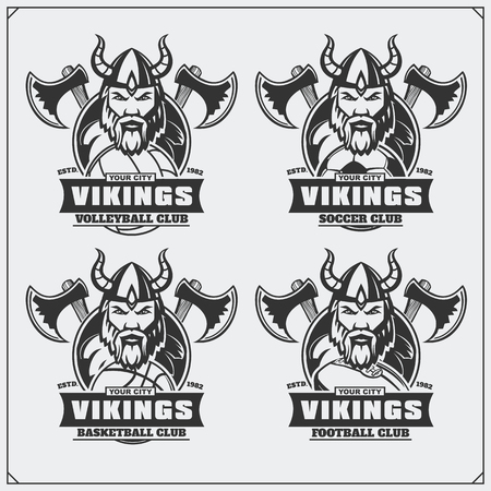 Volleyball, baseball, soccer and football labels. Sport club emblems with viking. Ilustrace