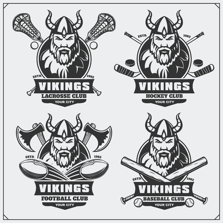 Football, baseball, lacrosse and hockey labels. Sport club emblems with viking.