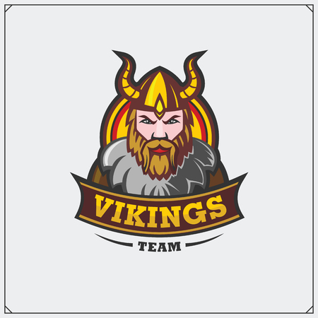 Vector illustration of a warrior wearing a viking helmet.