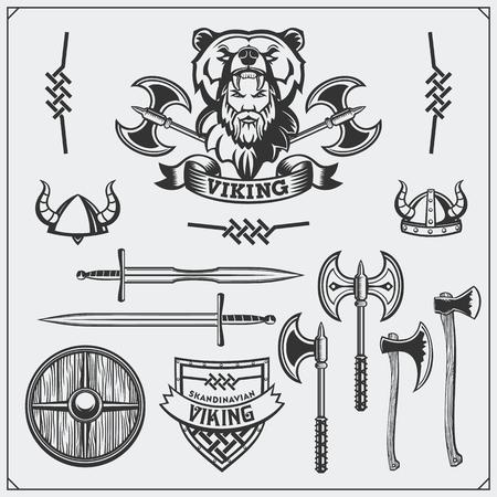 Viking set. Emblem, horned helmet, shield, sword and ax. Vintage style. Ilustração