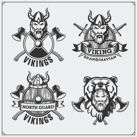 Set of viking labels, badges and emblems. Horned helmet, warrior, shield, sword and ax. Vintage style. Ilustração