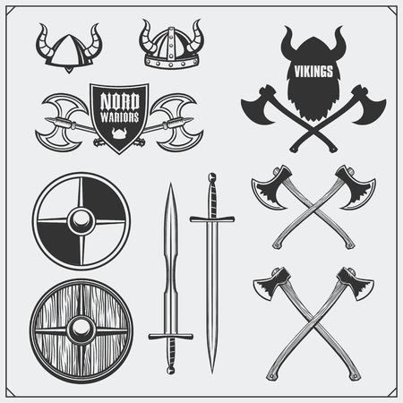Viking set. Horned helmet, shield, sword and ax Vintage style. Ilustração