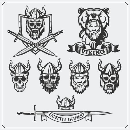 Set of Viking labels, badges and emblems. Skull, horned helmet, warrior, shield, sword Vintage style.