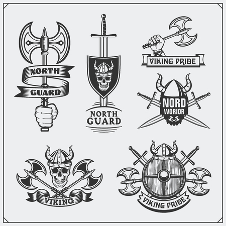 Set of viking labels, badges and emblems. Skulls and axes Vintage style.