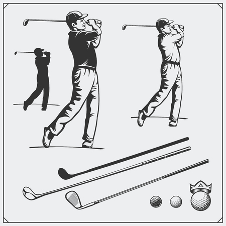 Vector set of golf players and golf elements. Ilustrace
