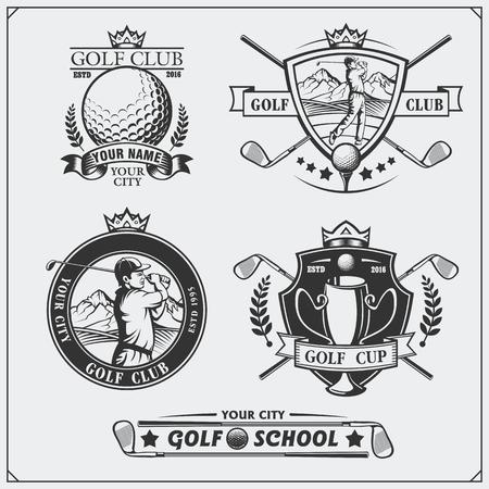 Set of vintage golf labels, badges, emblems and design elements. Monochrome design.