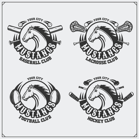Football, baseball, lacrosse and hockey logos and labels. Sport club emblems with horse. Illustration