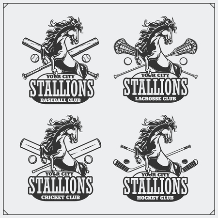 Volleyball, baseball, soccer and football logos and labels. Sport club emblems with horse.