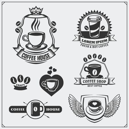 Set of coffee badges, labels and design elements. Coffee shop emblems templates. Imagens - 140395039