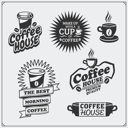 Set of coffee badges, labels and design elements. Coffee shop emblems templates. Imagens - 140395041