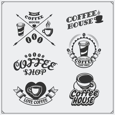 Set of coffee badges, labels and design elements. Coffee shop emblems templates. Ilustração