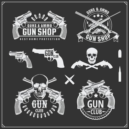 Collection of Guns. Revolvers, shotguns and rifles. Gun club labels and design elements. Ilustração