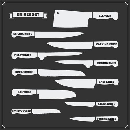 Vector set of kitchen knives. Cutlery set.