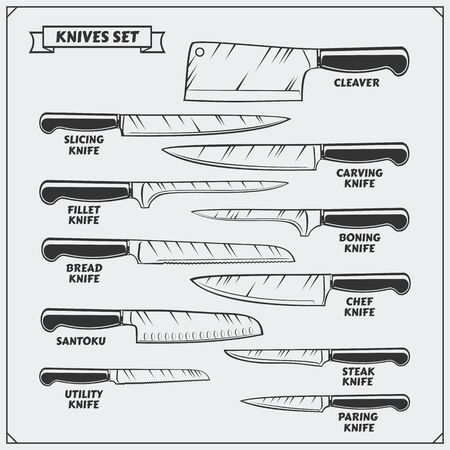 Vector set of kitchen knives. Cutlery set. Imagens - 140395052