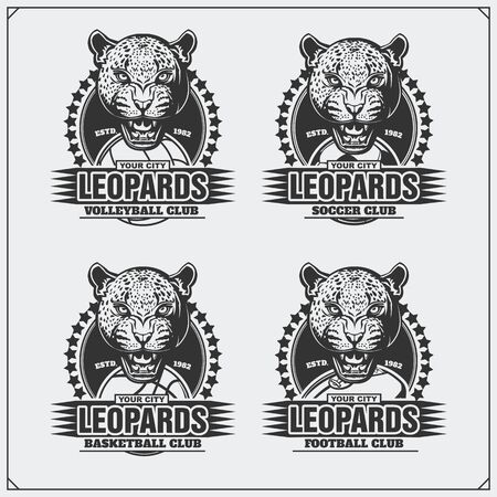 Volleyball, baseball, soccer and football   labels. Sport club emblems with leopard.