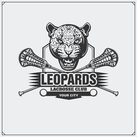 Lacrosse club emblem with leopard head. Print design for t-shirt. Imagens - 140395057