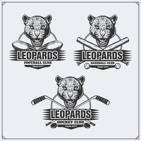 Football, baseball and hockey logos and labels. Sport club emblems with leopard. Imagens - 139306643