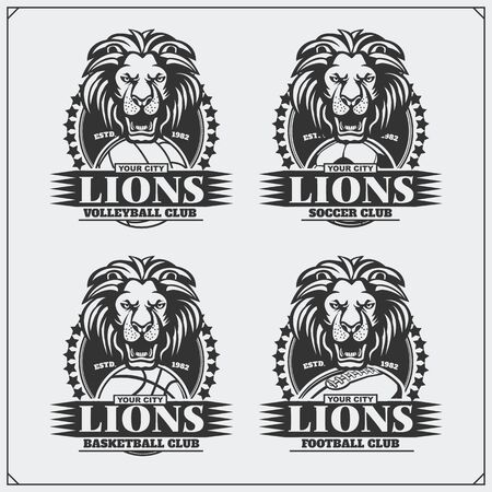 Volleyball, basketball, soccer and football  labels. Sport club emblems with lion.