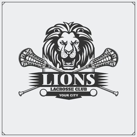 Lacrosse club emblem with lion head. Print design for t-shirt. Ilustração