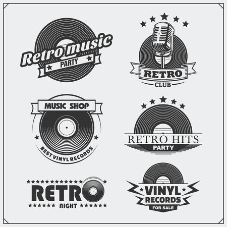 Retro music studio emblems, labels, badges and design elements. Vector set. Imagens - 139306598