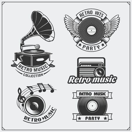 Retro music studio emblems, labels, badges and design elements. Vector set. Imagens - 139306615