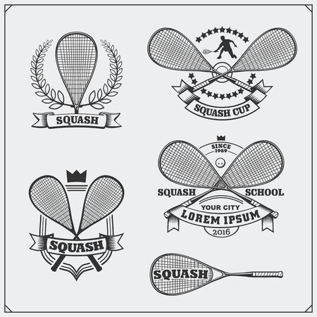 Squash labels, emblems, badges, design elements and silhouette of player. Black and white.