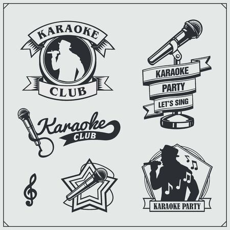 Vector set of karaoke vintage labels, badges and design elements. Karaoke Club emblems. Imagens - 140395166