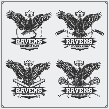 Football, baseball, lacrosse and hockey logos and labels. Sport club emblems with raven.