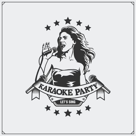 Karaoke Club emblem. Girl singing.