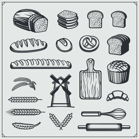 Set of Bakery icons, emblems and design elements. Vintage style. Imagens - 140395169