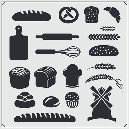 Set of Bakery icons, emblems and design elements. Vintage style. Imagens - 140395173