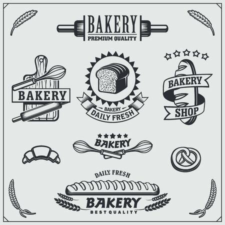 Set of Bakery labels, badges, emblems and design elements. Vintage style. Imagens - 140395174