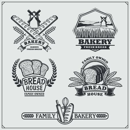 Set of Bakery labels, badges, emblems and design elements. Vintage style. Imagens - 140395227