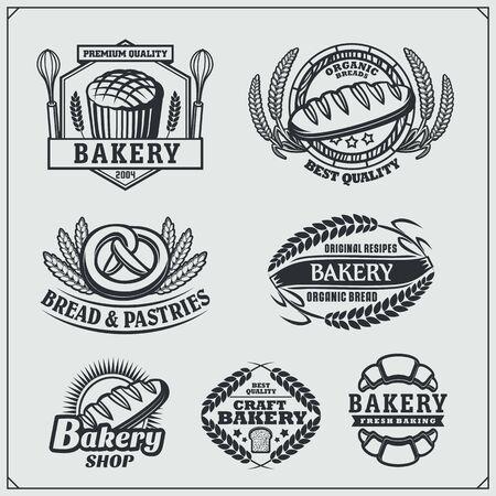Set of Bakery labels, badges, emblems and design elements. Vintage style.