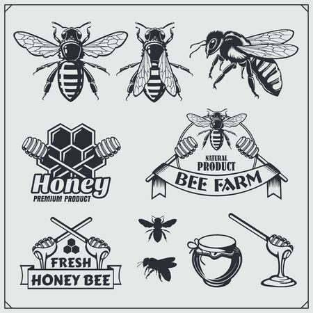 Set of honey labels, badges and design elements. Honeycombs, bees, honey emblems. Imagens - 140395236